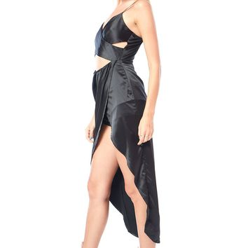 Cutout Front Hi Lo Satin Dress