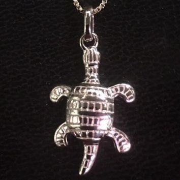 """New 14K White Gold Layer .925 Solid Silver Turtle Charm Pendant Free Chain 18"""""""