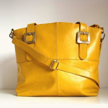 Leather Handbag Messenger Tote yellow