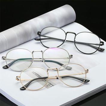 Fashion Vintage Women Eye Glasses frames Plain Mirror Clear Lens Harajuku big Metal oval frame glasses Oculos Feminino Masculino