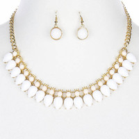 White Pear and Gold Linked Gem Collar Necklace Set