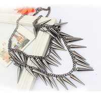 Stud Shape Pendant Multi-Layered Necklace