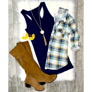 Penny Plaid Flannel Top - White/Navy/Yellow