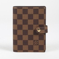 "Louis Vuitton Brown ""Damier Ebene"" Coated Canvas ""Small Agenda Cover"" Wallet"