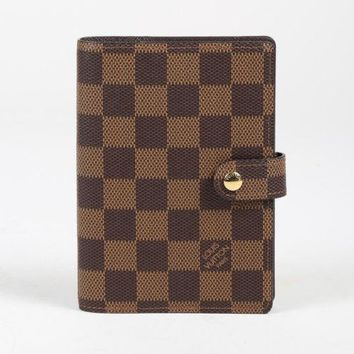 """Louis Vuitton Brown """"Damier Ebene"""" Coated Canvas """"Small Agenda Cover"""" Wallet"""