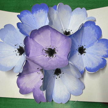 Mother's day greetings card tridimensional flowers blue and purple in watercolor origami carved and hand-painted flower bouquet in 3D