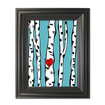 "Custom Birch Trees Illustration Put your text in the heart Valentine Gift or Custom Wedding Print You choose colour 8 x 10"" Rustic Decor"