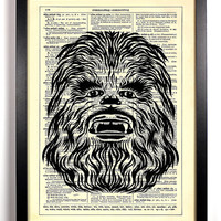 Repurposed Book Upcycled Dictionary Art Vintage Book Print Recycled Vintage Dictionary Page Star Wars Chewbacca Buy 2 Get 1 FREE