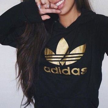 adidas Originals Black Three Stripe Cropped Top Hoodie