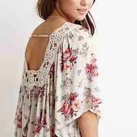 Crochet-Trimmed Rose Print Blouse