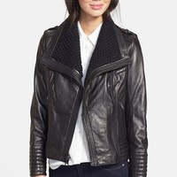 Women's MICHAEL Michael Kors Knit Collar Leather Jacket (Online Only)