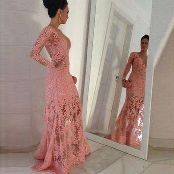 Romantic Lace Mermaid Prom Dresses 2017 New Appliques Beads Crystal Long Sleeve Tulle  Floor Length
