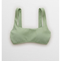 Aerie Ribbed Scoop Bikini Top , Camper Green