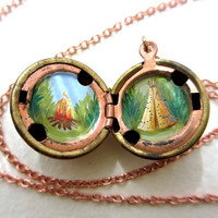 Camping Locket - Teepee and Campfire in the Great Outdoors, Miniature Painting, Forest Landscape