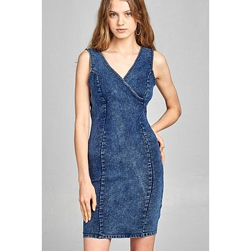 Ladies fashion double v-neck front wrap detail w/back zipper bodycon denim mini dress