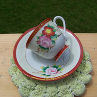 Vintage Occupied Japan Teacup and Saucer Set...Mid Century...Collectible...Very Pretty...Delicate China Cup