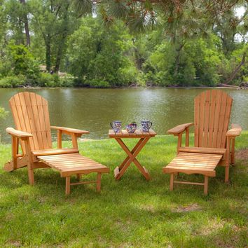 3 Piece Patio Furniture Set With 2 Adirondack Chairs & Side Table