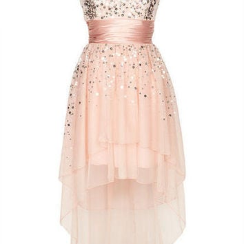 Blush Sequin Hi-Lo Dress