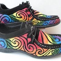 Bohemian Handpainted Psychedelic Rainbow Shoes. Size UK 3. (US size 5.5)