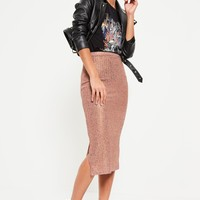 Missguided - Rose Gold Metallic Knit Ribbed Midi Skirt