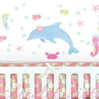 Sealife Dolphin Seahorse Starfish Crab Fish Beach Surf Ocean Mermaid Fabric Girls Kids Wall Decals Stickers - not vinyl