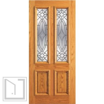 Single Door, Mahogany Twin Lite Entry, Insulated Beveled Glass