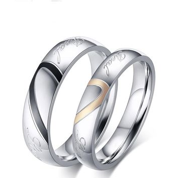 Women Men Love Heart Shape Promise Band Ring for Lover Couple Wedding Jewelry