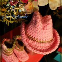 Cowgirl Hat and Boots, Crochet Baby Cowboy Hat and Boots, Pink Little Girls Setson Booties, Girly Infant Western Hat and Camo Boots