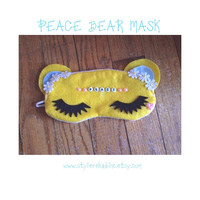 Peace Bear Sleep Mask.  Naps, headaches or for the spa. Elastic goes around head. Soft Snuggle Masks. Great for Travel.  Cotton.