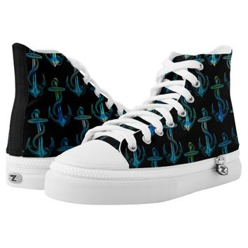 Anchor Blue Green Black Shoes Printed Shoes