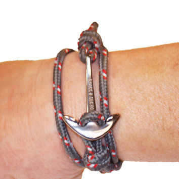 Anchor Bracelet, Grey/Red Paracord, Silver Stainless Steel clasp