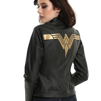 DC Comics Justice League Wonder Woman Faux Leather Jacket