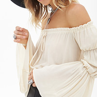 FOREVER 21 Woven Peasant Top Taupe Large
