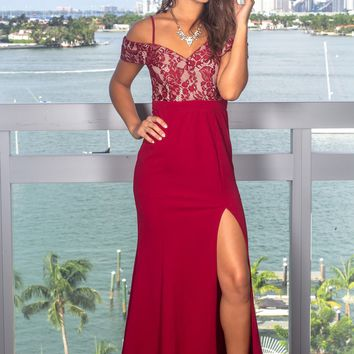 Burgundy and Beige  Off Shoulder Maxi Dress with Lace Top