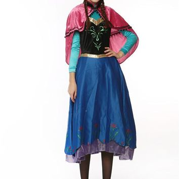 Adult Anna Princess Elsa Halloween costumes cosplay costume