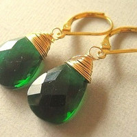Emerald Green Earrings Gold Earrings Gold by JulianaWJewelry