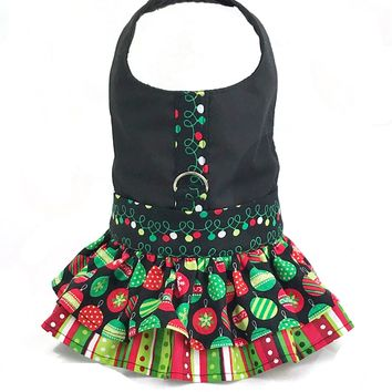 Christmas Print Ruffled Dog Cat Vest Harness