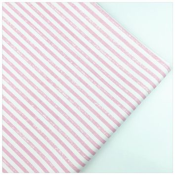 Syunss,Retro Pink Stripes Printed Cotton Fabric DIY Tissu Patchwork Telas Sewing Baby Toy Bedding Quilting Cloth Craft Tecido