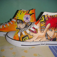 Hand Painted Converse Naruto and Gaara Anime Custom Converse Sneakers