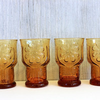 "set of 4 libbey vintage juice glasses // 'country garden"" amber // 1970s"