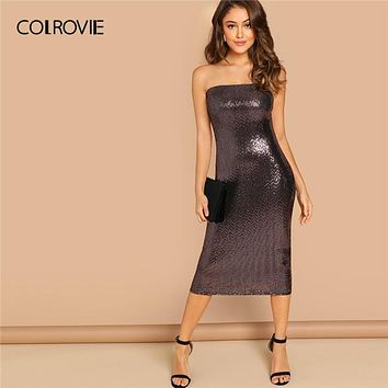 COLROVIE Black Solid Strapless Sequin Party Long Dress Women 2019 Spring Sleeveless Sexy Dress Club Bodycon Ladies Dresses