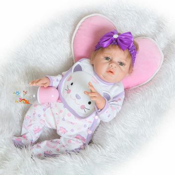 "20"" NPK girl doll reborn real full body silicone reborn babies dolls for children gift bath toy dolls bebe alive bonecas reborn"