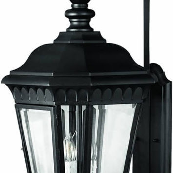 "0-034132>35""h Camelot 3-Light Extra-Large Outdoor Wall Lantern Black"