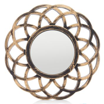"MONOINSIDE Small Round Framed Wall Mount Glass Mirror, Retro Design, Distressed Gold Colored Plastic Circular Frame, 10.25"" in Diameter"