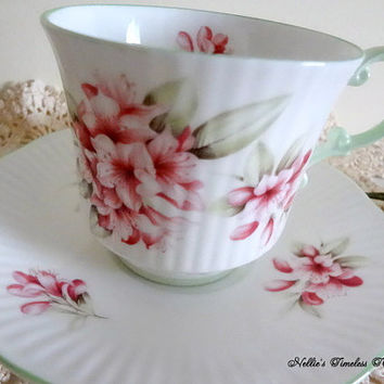 Vintage Rosina Queens Fine Bone China Cup and Saucer with Pink Flowers Green Trim  English Antique Tea Cup and Saucer Vintage China Gift