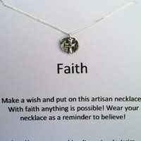 Artisan Faith Cross Wish Necklace, Sterling Silver Necklace, Minimal Jewelry