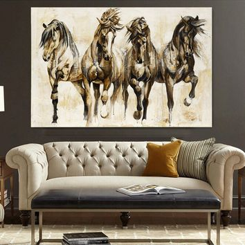 Modern HD Animal Photo Print Home Decor Vintage HORSE Oil Painting On Canvas Wall Art Brown Retro Nostalgia Original Horses Pain