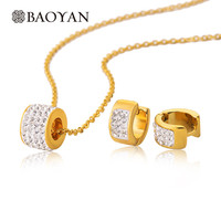 Gold Stainless Steel Women Pendant Necklace With Huggies Earrings Pave Crystal Round Pendant  And Earring Women Jewelry Set