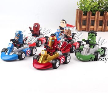 Marvel Toys The Avengers Racing Car Super Heroes Spiderman Superman Thor Iron Man Captain America Hulk Figure Toy Gift for Boy