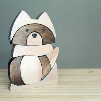 Raccoon blocks puzzle, wooden blocks, stacking toy
